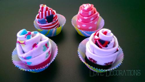Cupcake aus Babysocken 1