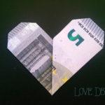 Geldschein falten: Herzchen