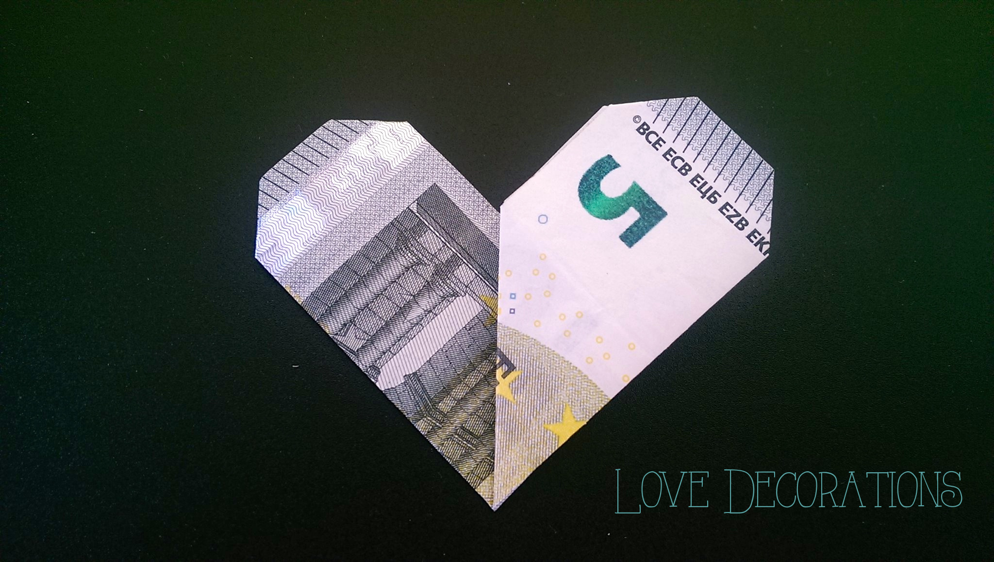 Geldschein Falten Herz Love Decorations