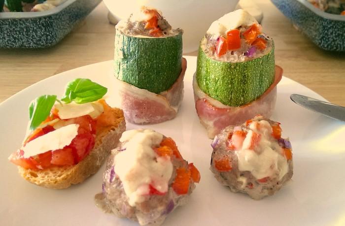 Gefüllte Zucchini mit Hackfleisch-Paprika-Füllung und Speckmantel 7