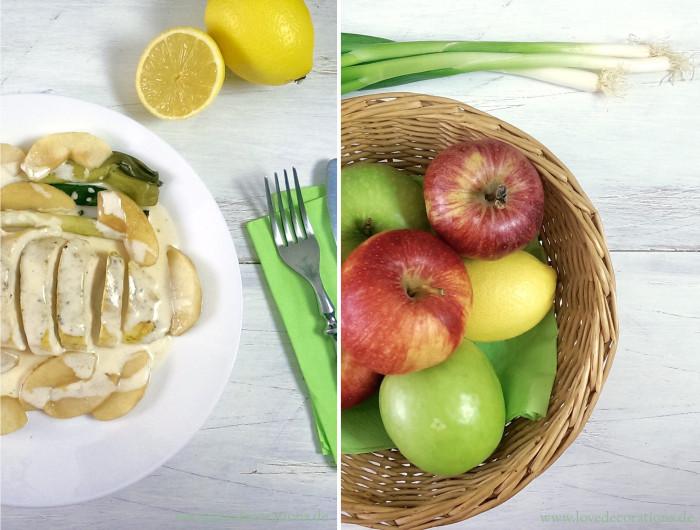 Hühnchen mit karamellisierten Äpfeln und Lauchzwiebeln 16