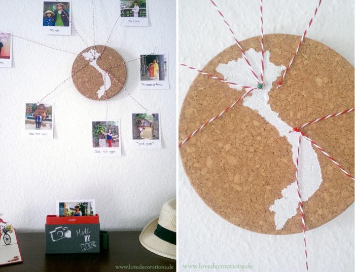 Korkplatte mit Land und CEWE Polaroid 10