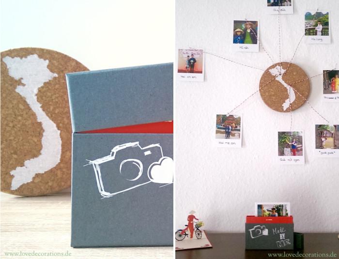 Korkplatte mit Land und CEWE Polaroid 12