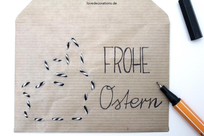 DIY bestickter Briefumschlag Ostern 5