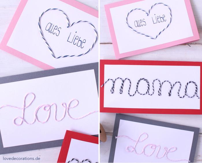 DIY Karte mit Schnurmotiven Muttertag 8