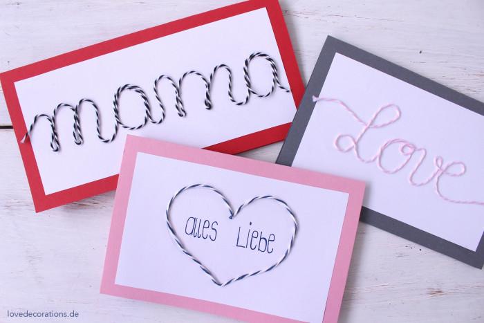 DIY Karte mit Schnurmotiven Muttertag 9