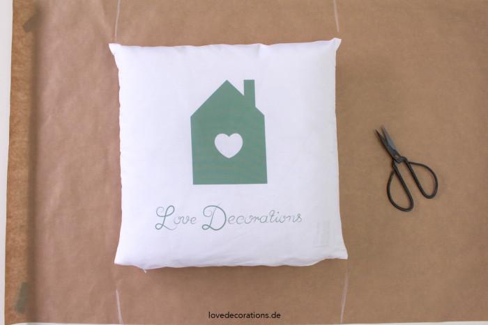 Geschenkverpackung Kissen Handlettering 1