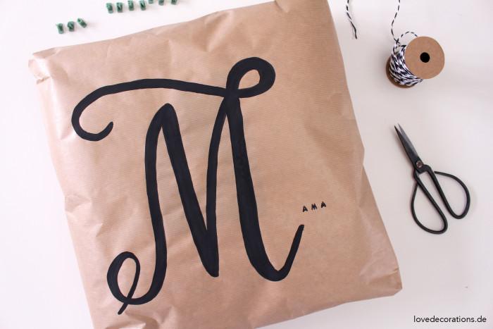 Geschenkverpackung Kissen Handlettering 8