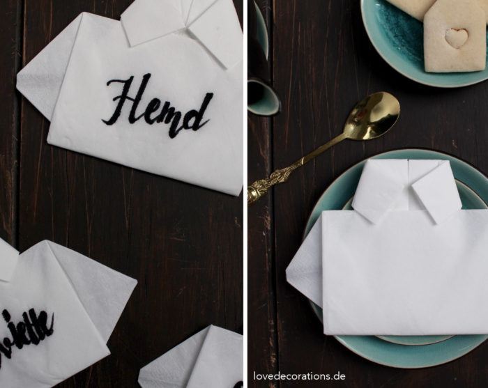 Servietten falten Hemd Vatertag 20