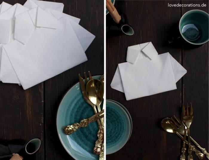 Servietten falten Hemd Vatertag 22