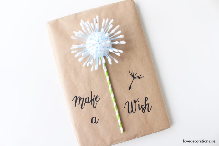 DIY Geschenkverpackung Pusteblume