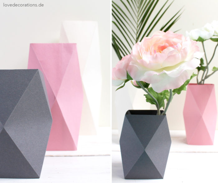 How To Make 3D Origami Flower Vase V9 | cómo hacer florero de ... | 586x700