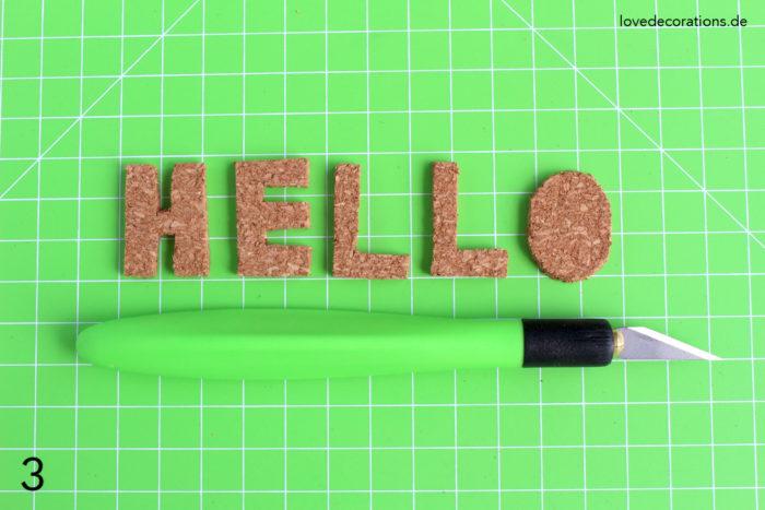 DIY Kork Buchstaben für Pflanzentöpfe