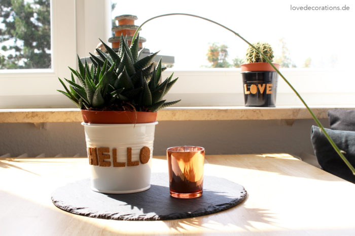 DIY Kork Buchstaben für Pflanzentöpfe mit büroshop24* - Love Decorations