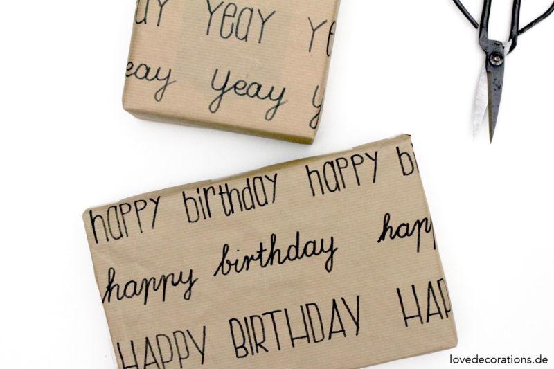DIY Geschenkpapier beschriften