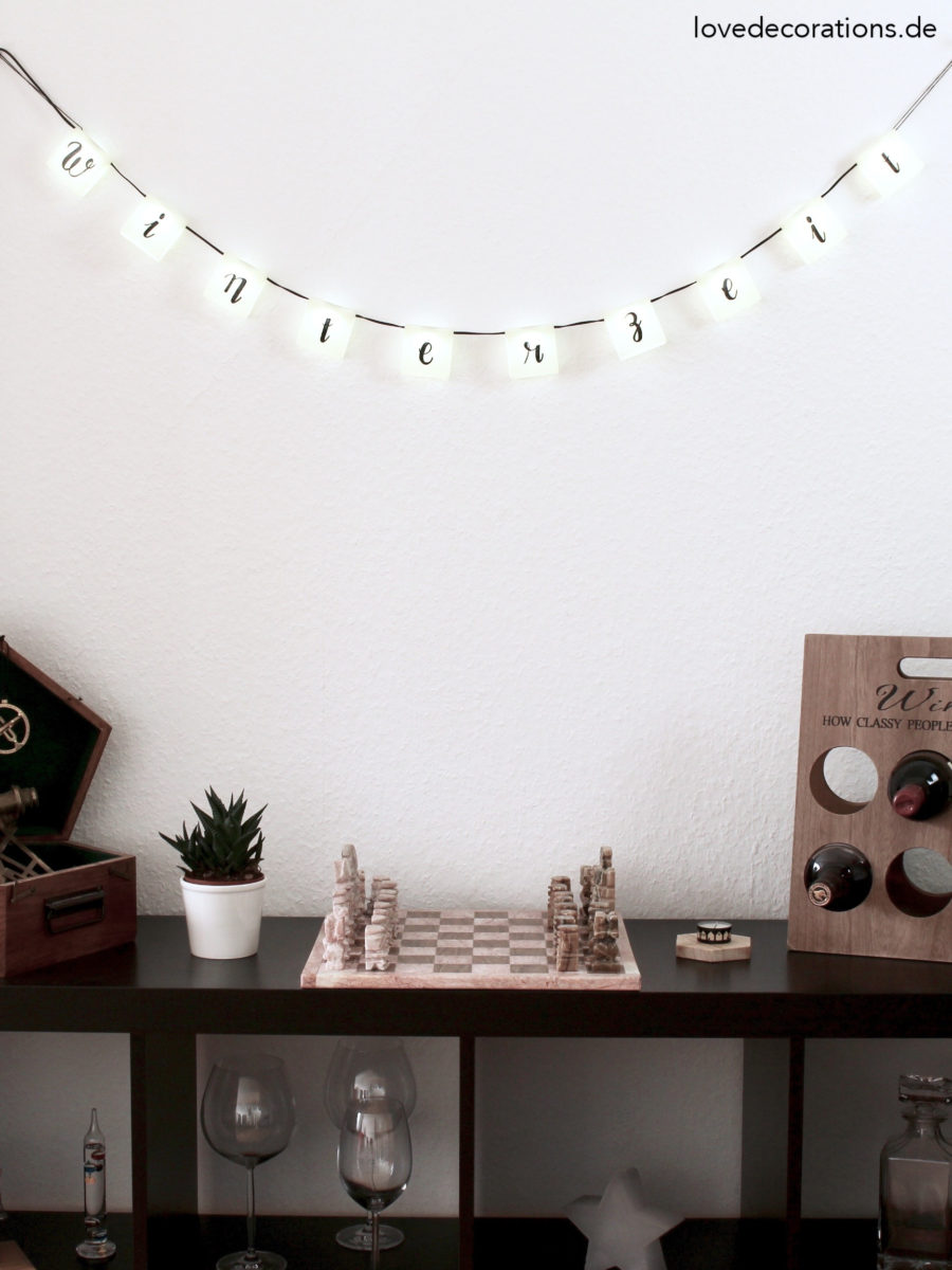 DIY Lichterkette mit Handlettering | DIY handlettered Light Garland