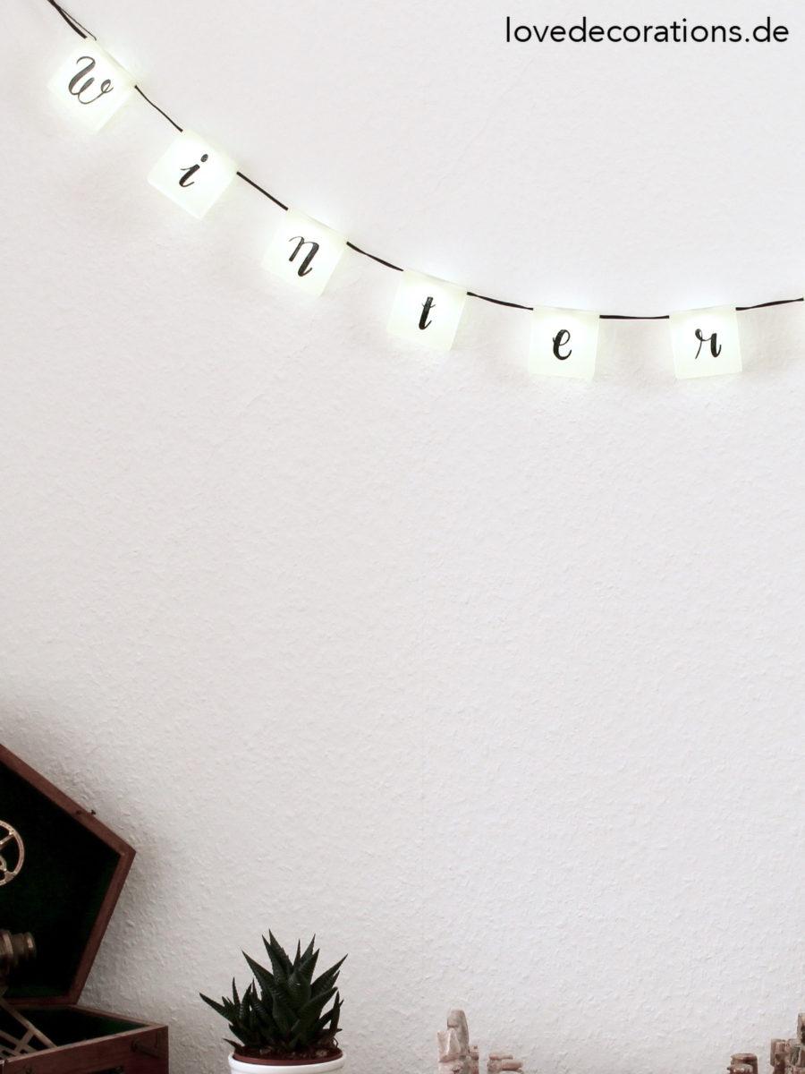 DIY Lichterkette mit Handlettering   DIY handlettered Light Garland
