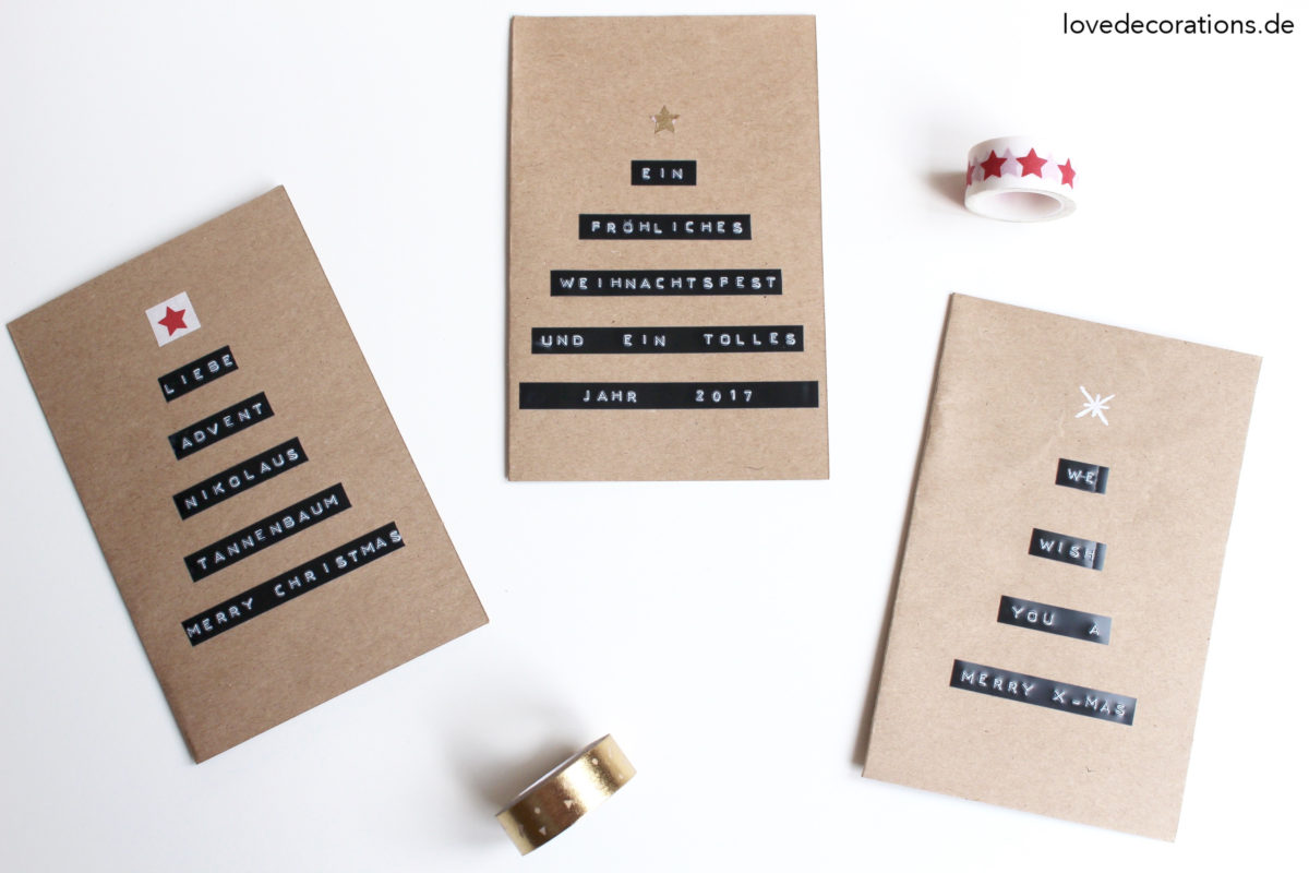 DIY Tannenbaum Weihnachtskarte mit Dymo | DIY Christmas Tree Card