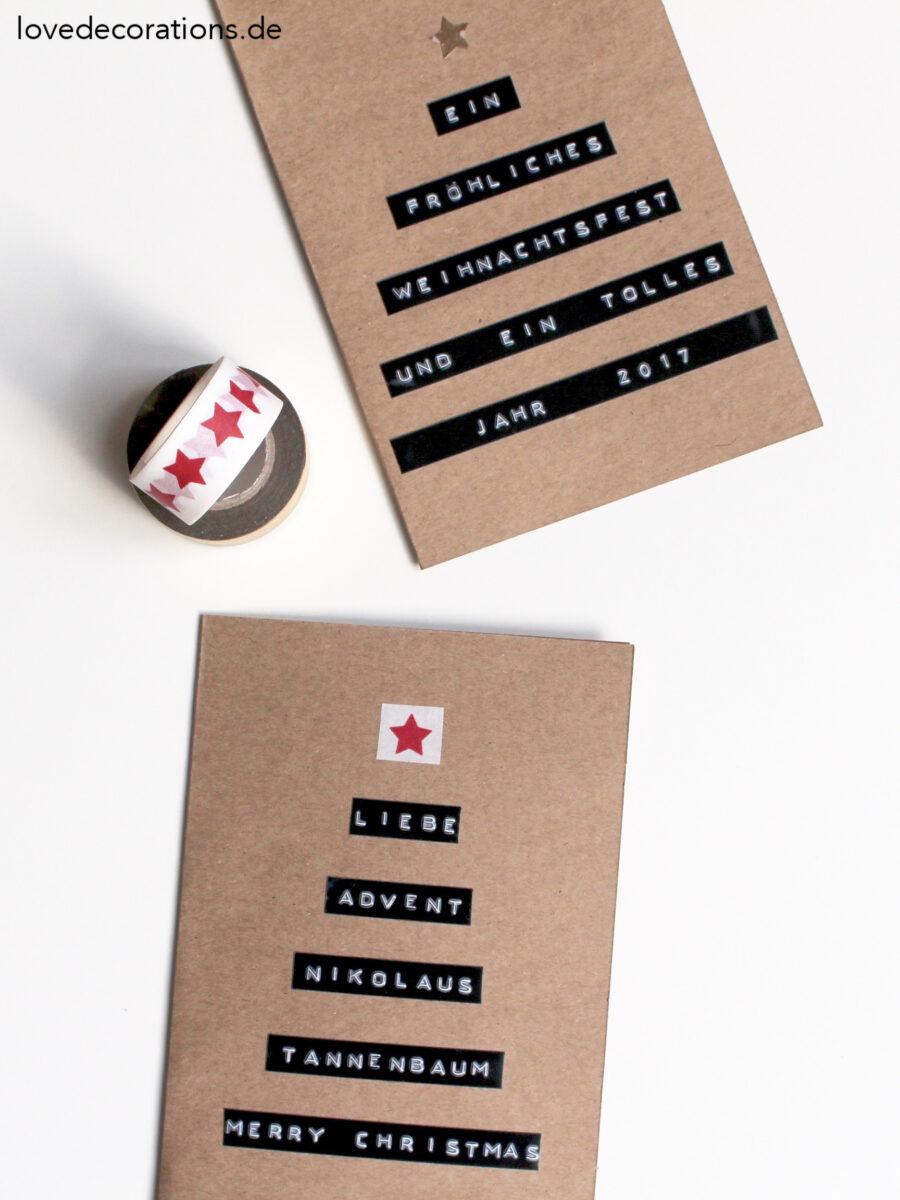 diy tannenbaum weihnachtskarte mit dymo love decorations. Black Bedroom Furniture Sets. Home Design Ideas