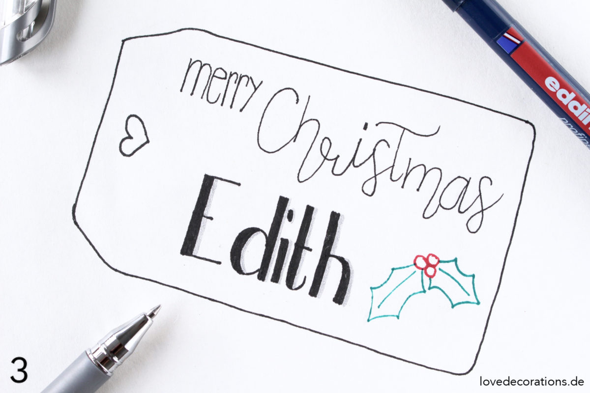 Etikett auf Geschenkpapier malen | Draw Christmas Tags on Wrapping Paper