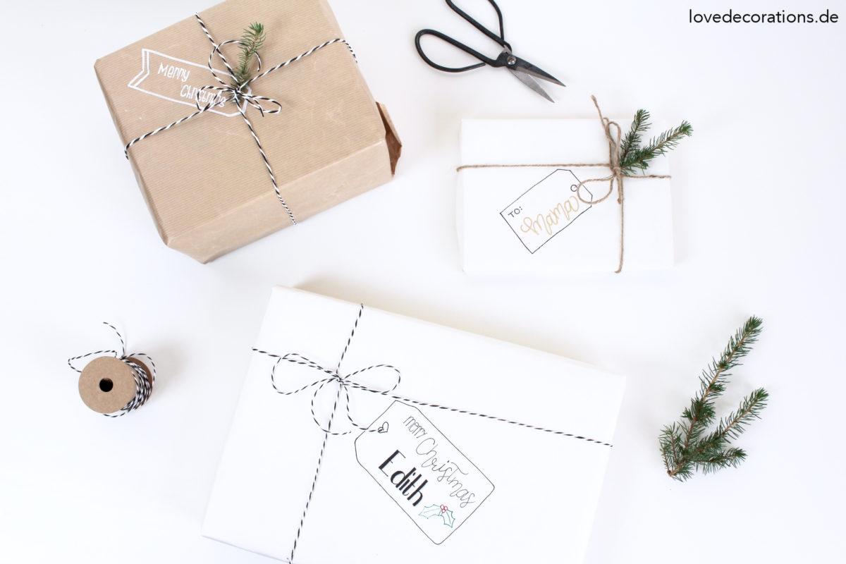 Etikett auf Geschenkpapier malen | Draw Tags on Wrapping Paper