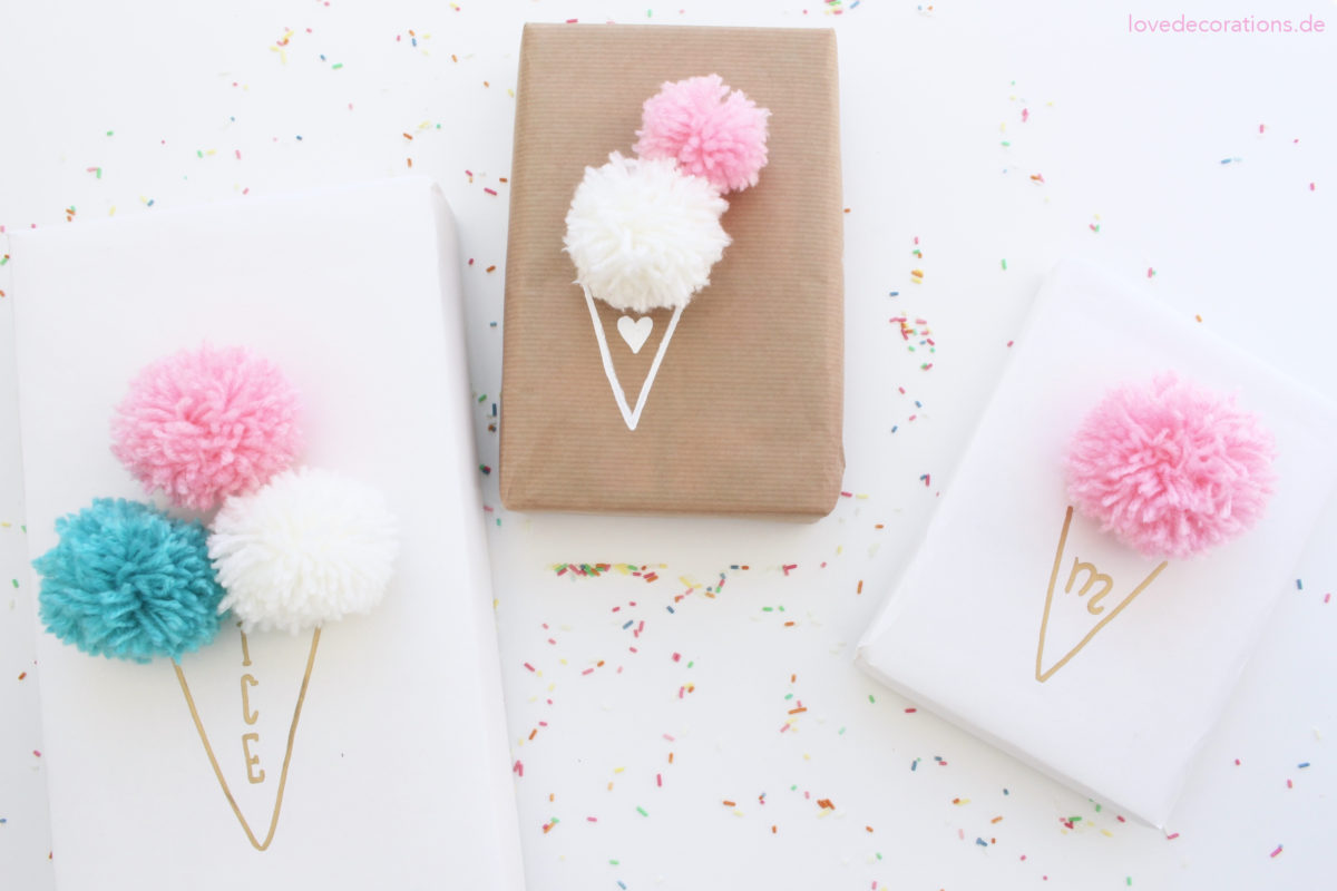 DIY Eis-Pompoms Geschenkverpackung | DIY Ice Cream Pompoms Gift Wrapping