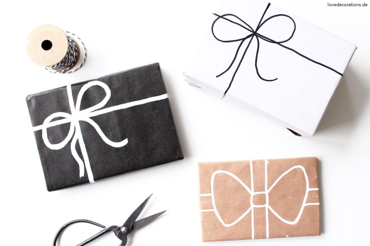 DIY Schleife auf Geschenkpapier malen | DIY painted Bow on a Gift Wrapping