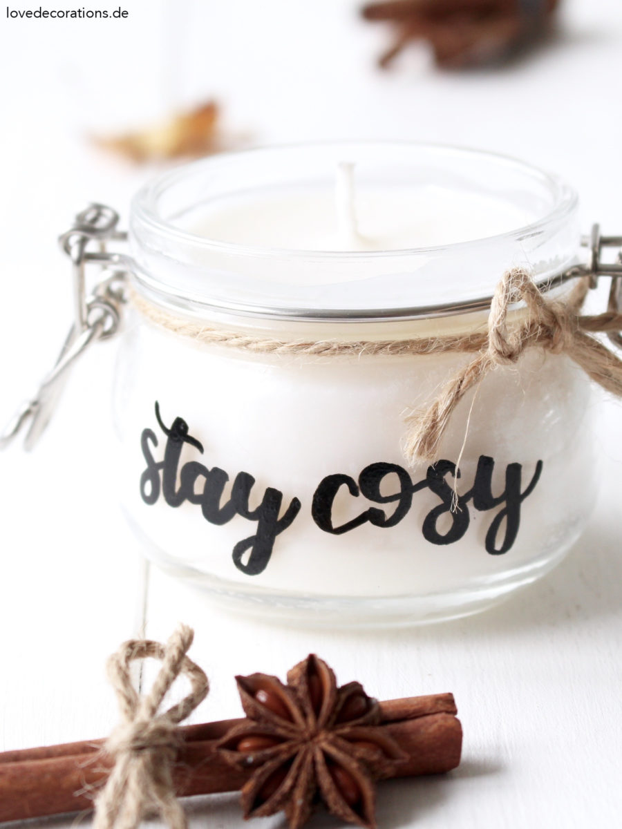 DIY Candle Jar with Lettering | DIY Kerzenglas mit Lettering