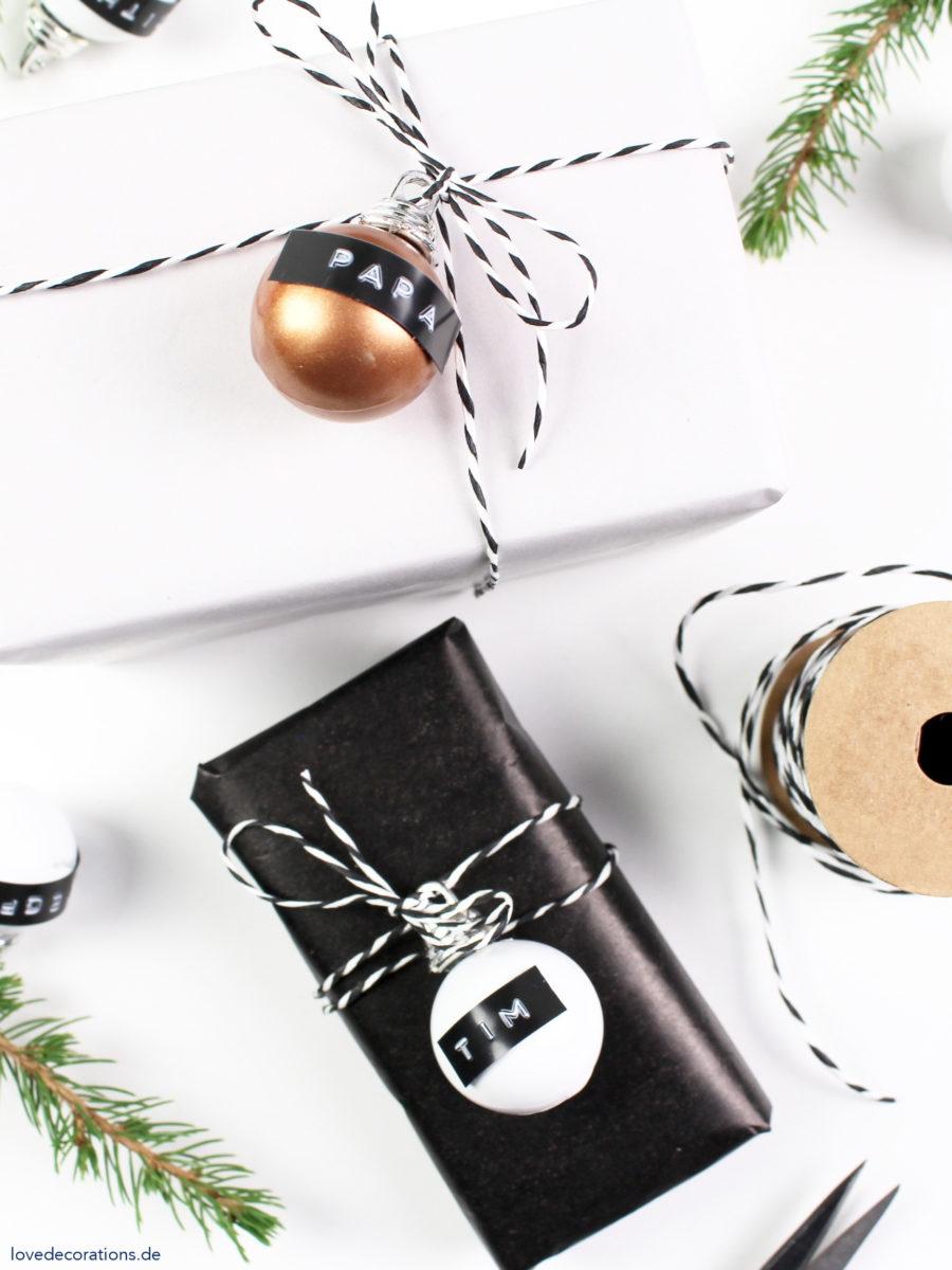 DIY Christmas Tree Ornament as Gift Wrapping Topper | DIY Geschenkanhänger mit Weihnachtskugel und Dymo
