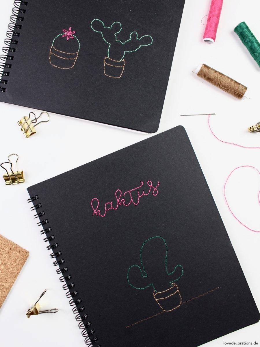 DIY Notizbücher mit Kakteen besticken + die unbeabsichtigte Blogpause