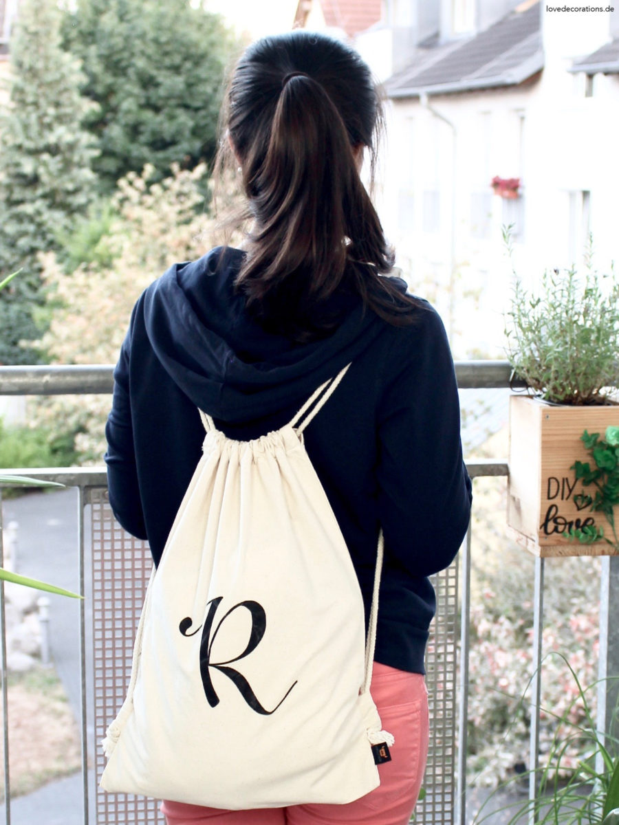 DIY Turnbeutel mit Monogram | DIY Monogramm Gym Bag