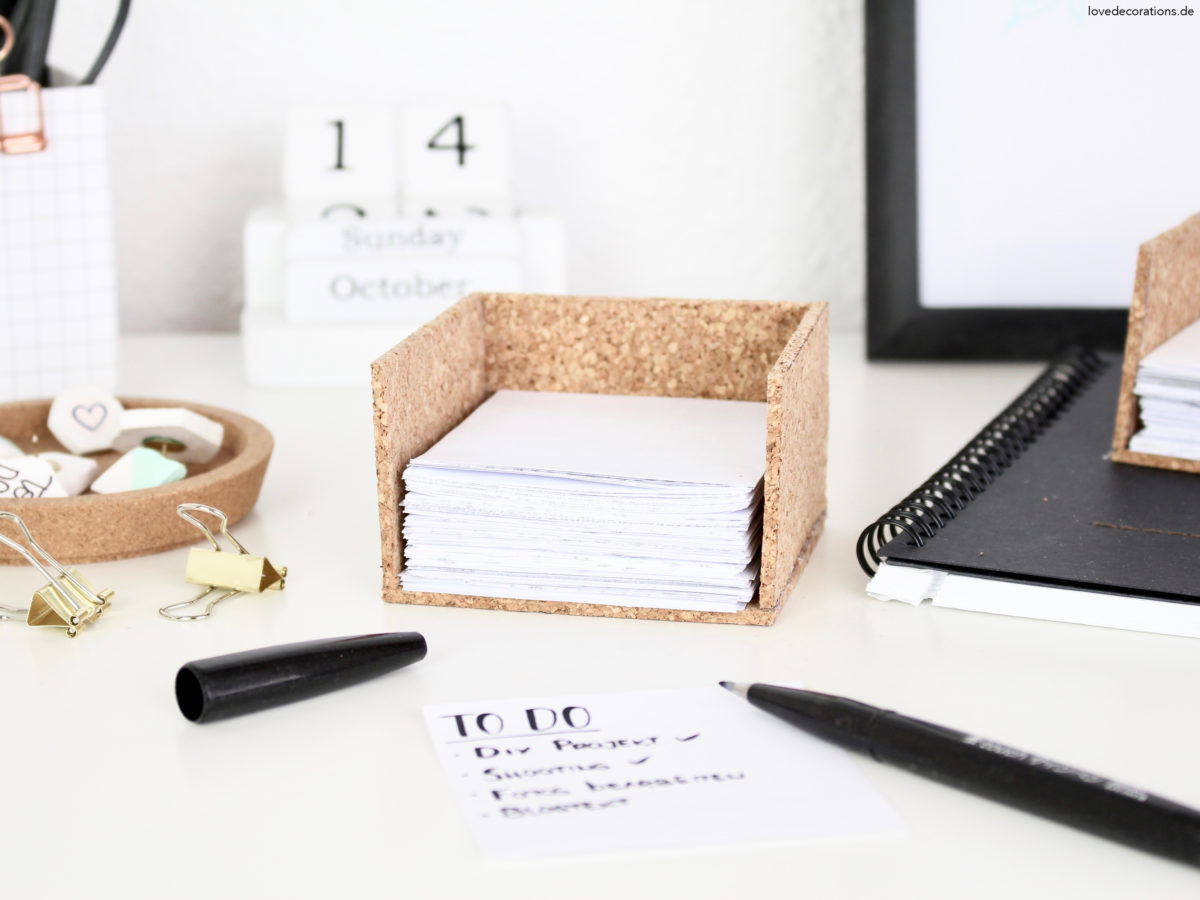 DIY Note Box made of Cork | DIY Kork Zettelbox für Notizblätter