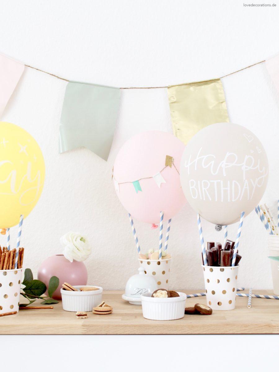 DIY Hot Air Balloon Snack Holder | DIY Heißluftballon als Snack Holder für den Geburtstagstisch oder die Candy Bar