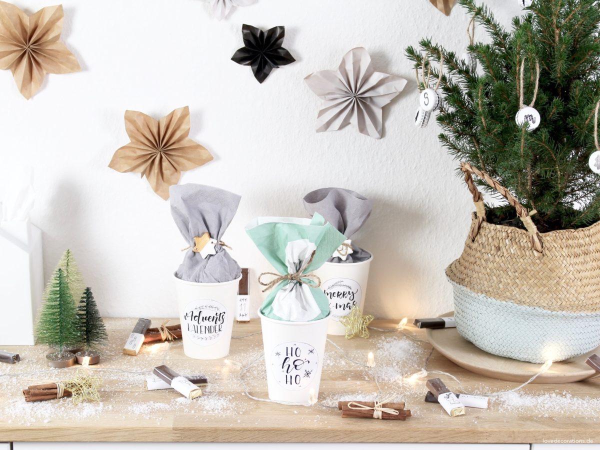 DIY Advent Calendar filled with Chocolate Bar | DIY Schokoriegel Adventskalender in Pappbecher