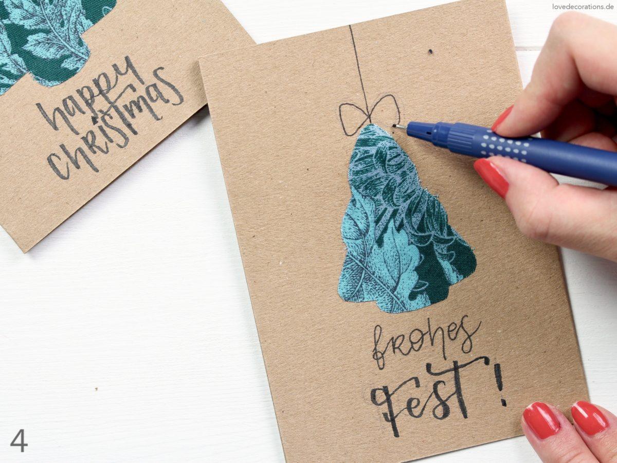 DIY Fabric Christmas Tree Card | DIY Tannenbaum Weihnachtskarte mit Stoff