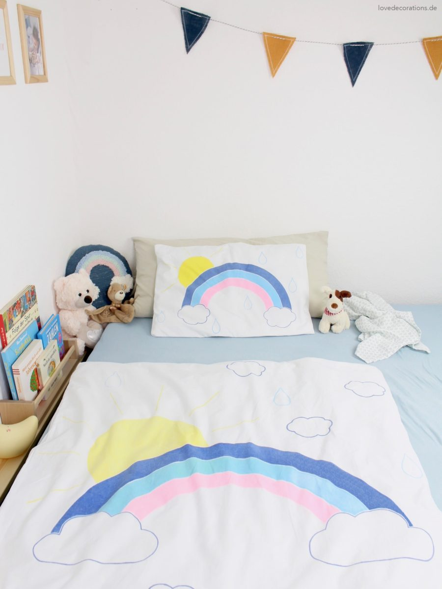 DIY Kinder-Bettwäsche mit Regenbogen upcyclen | DIY Kids Bed Linen with Rainbows