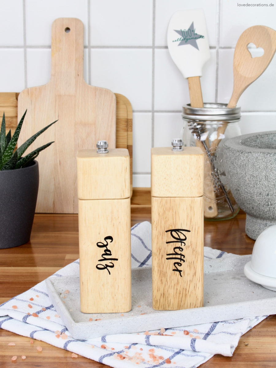 DIY Salz- u. Pfeffermühle mit Lettering upcyclen | DIY Salt and Pepper Grinder upcycled with Lettering