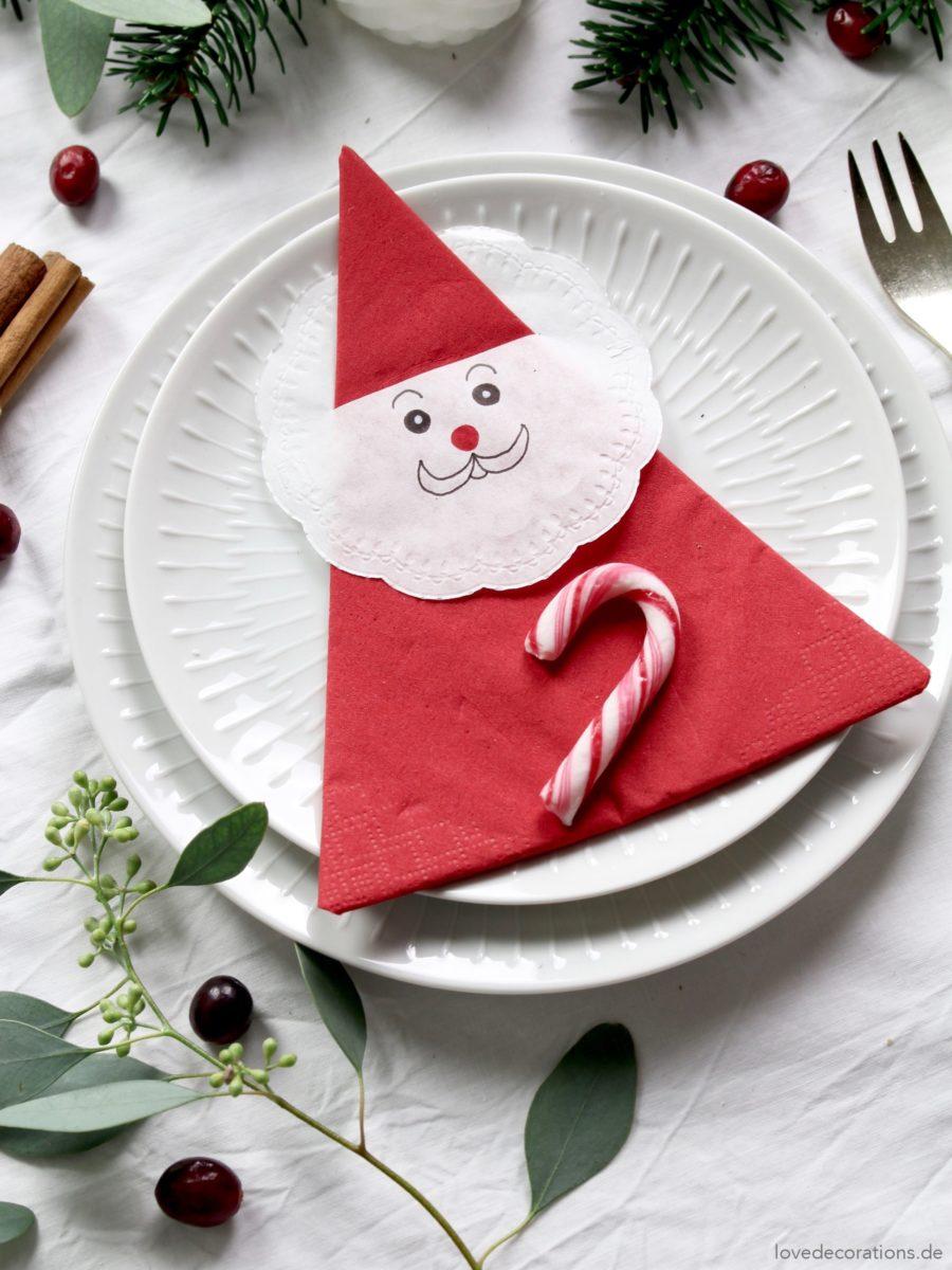 DIY Weihnachtsmann Servietten | DIY Santa Claus Napkins
