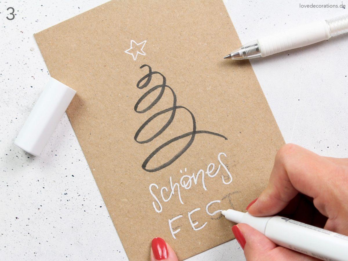 DIY easy Weihnachtskarten – Weihnachtsbäume mit nur einer Linie | DIY easy Christmas Cards – Christmas Tree with only one Line