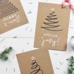 DIY easy Weihnachtskarten – Weihnachtsbäume mit nur einer Linie